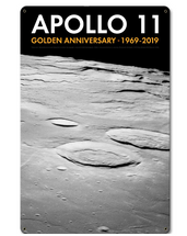 Apollo 11 50th Anniversary Craters on the Lunar Surface Black Metal Sign Pasttime Signs