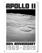 Apollo 11 50th Anniversary Craters on the Lunar Surface White Metal Sign Pasttime Signs