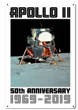 Apollo 11 50th Anniversary Eagle LM LEM Lunar Module White Metal Sign Pasttime Signs