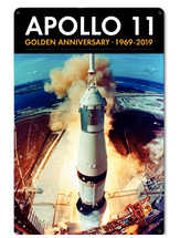 Apollo 11 50th Anniversary Launch on Pad 39A Black Metal Sign Pasttime Signs