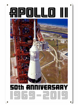 Apollo 11 50th Anniversary LES Launch Escape System Tower White Metal Sign Pasttime Signs