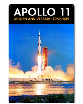 Apollo 11 50th Anniversary Liftoff on Pad 39A Black Metal Sign Pasttime Signs
