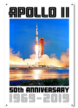 Apollo 11 50th Anniversary Liftoff on Pad 39A White Metal Sign Pasttime Signs