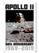 Apollo 11 50th Anniversary LM Eagle on the Moon White Metal Sign Pasttime Signs