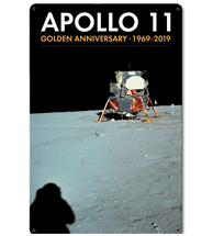 Apollo 11 50th Anniversary Lunar Module on the Moon Black Metal Sign Pasttime Signs