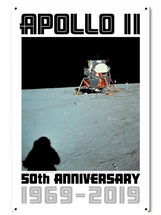 Apollo 11 50th Anniversary Lunar Module on the Moon White Metal Sign Pasttime Signs