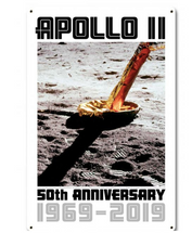 Apollo 11 50th Anniversary Lunar Module Strut and Footpad White Metal Sign Pasttime Signs