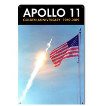 Apollo 11 50th Anniversary Saturn V and the Flag Black Metal Sign Pasttime Signs