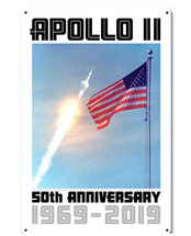 Apollo 11 50th Anniversary Saturn V and the Flag White Metal Sign Pasttime Signs