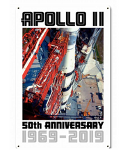 Apollo 11 50th Anniversary Saturn V Launch Tower White Metal Sign Pasttime Signs