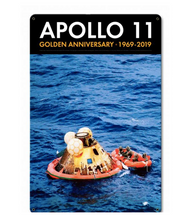 Apollo 11 50th Anniversary Splashdown in the Pacific Black Metal Sign Pasttime Signs