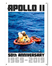 Apollo 11 50th Anniversary Splashdown in the Pacific White Metal Sign Pasttime Signs