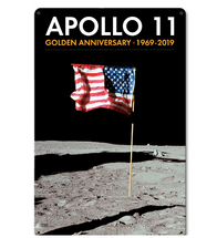 Apollo 11 50th Anniversary US Flag Planted on the Moon Black Metal Sign Pasttime Signs