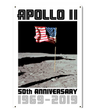 Apollo 11 50th Anniversary US Flag Planted on the Moon White Metal Sign Pasttime Signs