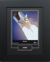 Atlantis framed print matted to include flown cargo bay liner artifact by Century Concept