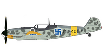 Bf 109G Finnish Air Force 1/LeLv34, MT-451, Eino Ilmari Juutilainen, Finland, June 1944