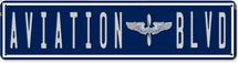 Aviation Blvd Satin Metal Sign Pasttime Signs