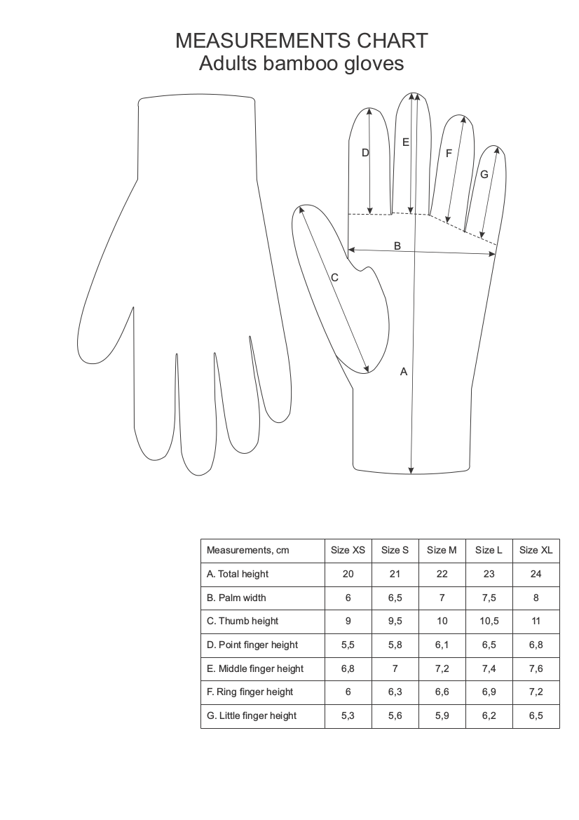 Black cotton gloves for eczema - Bamboo Gloves For Eczema Sizing Chart Xl Png