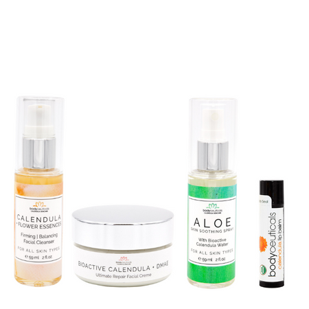 Our eczema face moisturizer and cleanser kit comes with soothing calendula face wash, face cream, soothing spray and lip balm.