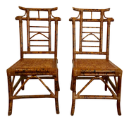 1970s Asian Pagoda Bamboo Side Chairs - a Pair