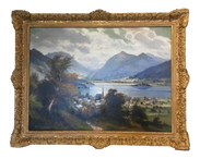 Framed Antique European Landscape Oil Painting