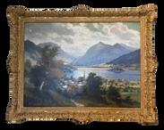 Framed Antique European Landscape Oil Painting