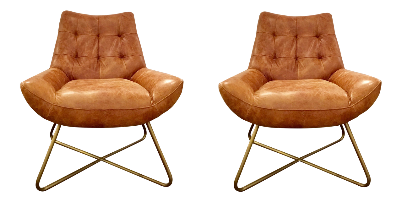 Astonishing Mid Century Modern Style Vintage Leather Lounge Chairs Pair Pabps2019 Chair Design Images Pabps2019Com