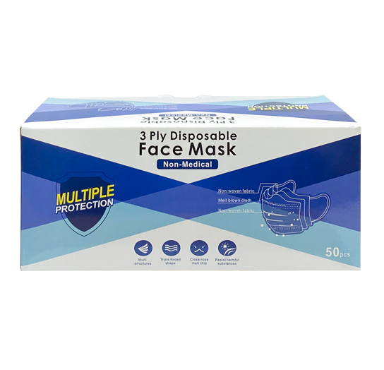 3-Ply Non-Medical Disposable Blue Face Masks 50 per Box