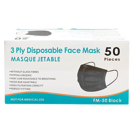 3-Ply Disposable Non-Medical Black Face Masks 50 per Box