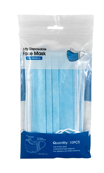 3-Ply Disposable Non-Medical Blue Face Masks 10 Pack