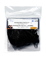 WASHABLE FACE MASK 100% COTTON, 3 PLY, 3 MASKS/PKG - BLACK (568)