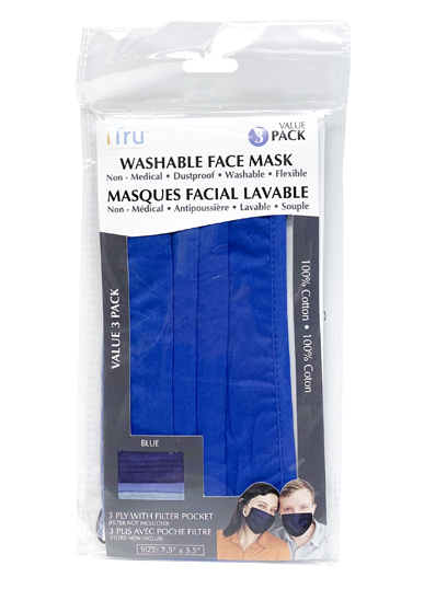 Assorted Colours Washable 3-Ply Face Masks Made From 100% Cotton with Filter Pocket and Nose Wire| 3 Pack