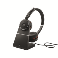 Jabra Evolve 75 Bluetooth Headset Bundle | Active Environmental Canceling | USB Dongle, Charging Stand, MS-Skype/Lync Certified with Bonus AC Adapter - Softphones, Smartphones, PC/MAC