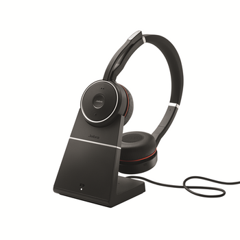 Jabra Evolve 75 Bluetooth Headset Bundle | Active Environmental Canceling | USB Dongle, Charging Stand, UC Version with Bonus AC Adapter - Softphones, Smartphones, PC/MAC