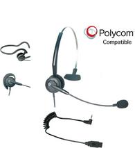 Polycom Compatible Tria Convertible Headset | For Polycom Phones with 2.5mm Headset Jack: SE220, SE225, ip301, ip320, ip321, ip330, ip335, 3616, 3626, 3641, 3645, 8020, 8030