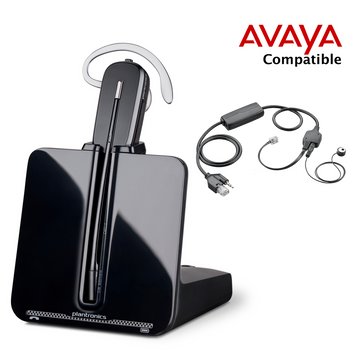 Avaya Compatible Plantronics VoIP Wireless Headset Bundle | Electronic Remote Answerer (EHS) included | Headband and Earwrap | Avaya IP Phones: 1408, 1416, 1608, 1616, 2410, 4630, 9404, 9406, 9504, 9505, 9508 9608, 9611, 9620L, 9620, 9621, 9630, 9640, 9641G, 9650, 9670, 6416D+M, 6424D+