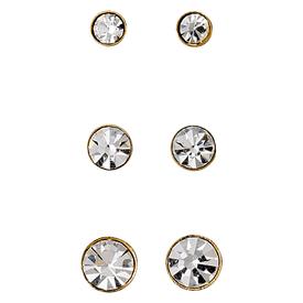 Pilgrim Stud Earrings Triple Set Gold Plated Crystal  31131-2013