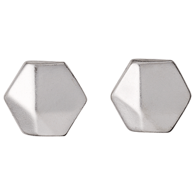 Pilgrim Vivacious Hexagonal Silver Plated Stud Earrings 16133-6003