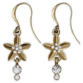 Pilgrim Soft Glimpse Crystal Flower Drop Earrings Gold Plated  17132-2013