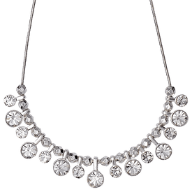Pilgrim Drop Crystals Necklace Silver Plated Crystal 38cm + Extender 60143-6041