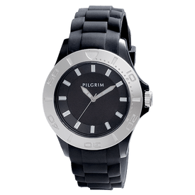 Pilgrim Watch Silver Plated With Black Strap 70132-6102