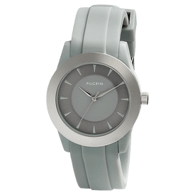 Pilgrim Watch Silver Plated With Grey Strap 70141-6101