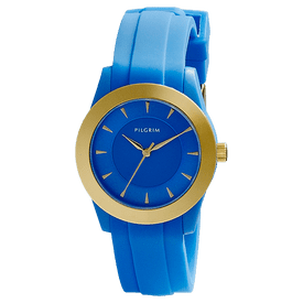 Pilgrim Watch Gold Plated With Blue Strap 70141-2201