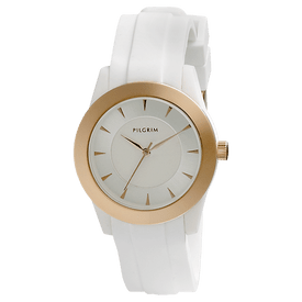 Pilgrim Watch Rose Gold Plated With White Strap 70141-4001