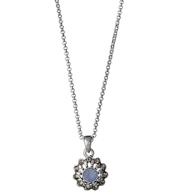 Pilgrim Dearest Necklace Silver Plated Blue 40cm + 8  181516201