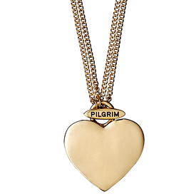 Pilgrim Chunky Heart Necklace Gold Plated 2 In 1 45cm/90cm 60133-2051 SECONDS SCRATCHES/BLEMISHES