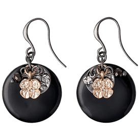 Pilgrim Equals Drop Earrings Rose Gold + Hematite Plated 241533113