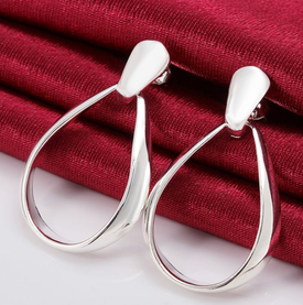 925 Sterling Silver Solid Thick Oval Hoop Earrings  30mm x 20mm + Gift Bag