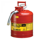 JUSTRITE 5 GAL RED SAFETY GAS CAN TYPE II WITH FLEX METAL HOSE - 7250120