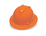 MSA ORANGE FULL BRIM SLOTTED HARD HAT WITH STAZ-ON PINLOCK SUSPENSION - 454734